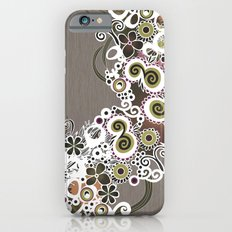 Diagonal flower – brown and olive green fiber Slim Case iPhone 6s
