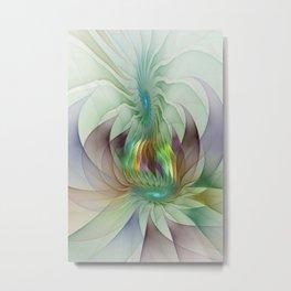 Colorful Shapes, Modern Fractals Art Metal Print