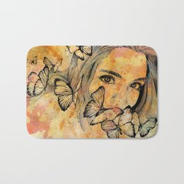 Remain Sedate (butterfly girl street art portrait) Bath Mat