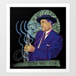 Jazz legend Lester Young Art Print