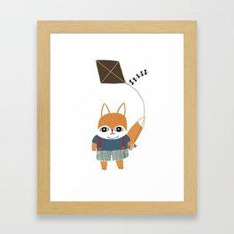 Fox Boy Flies a Kite  Framed Art Print