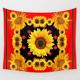 Red Western Yellow Sunflowers Art Wall Tapestry