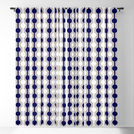 Geometric Multi Droplets Pattern - Navy Blue Cream White Blackout Curtain