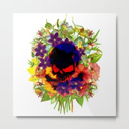 Skull on Flowers Metal Print