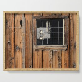 Rustic Cabin Window With Oil Lantern Serving Tray