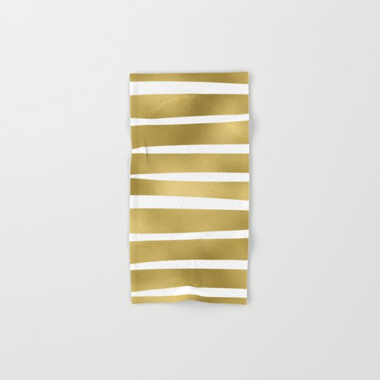 Gold unequal stripes on clear white - horizontal pattern Hand & Bath Towel