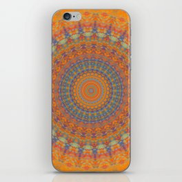 Bright Orange Blue Mandala iPhone Skin