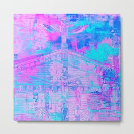 Totem Cabin Abstract - Hot Pink & Turquoise Metal Print