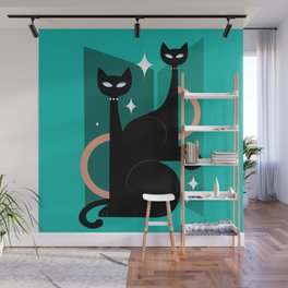 Fashionable Felines Atomic Age Black Kitschy Cats Wall Mural