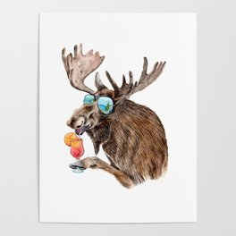 Moose on Vacation Poster