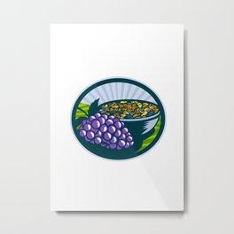 Grapes Raisins Bowl Oval Woodcut Metal Print