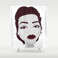 angelina jolie Shower Curtains featuring ANGELINA JOLIE by Fillipa Lara