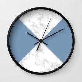 diagonal tiles marble blue pattern Wall Clock