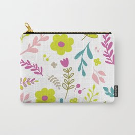 Colorfull flowers on white Carry-All Pouch