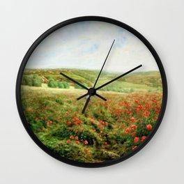 Fields of Red Poppy by Jakob Philipp Hackert Wall Clock
