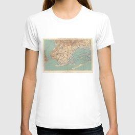 Vintage Map of Jamaica Bay and Brooklyn NY (1891) T-shirt
