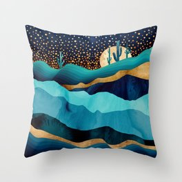 Indigo Desert Night Throw Pillow