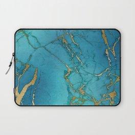 Turquoise Gold Metallic Marble Stone Laptop Sleeve
