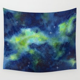 Blue and Green Night Sky Watercolor Wall Tapestry