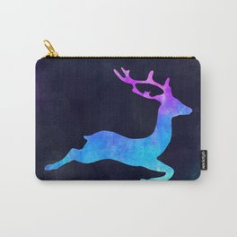 DEER LEAPING IN SPACE // Animal Graphic Art // Watercolor Canvas Painting // Modern Minimal Cute Carry-All Pouch