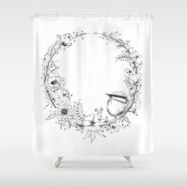Chickadee a top Botanical Wreath Shower Curtain