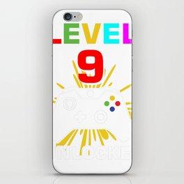 Level 9 Unlocked 9Th Birthday Shirt For Boys Gamer 1999 iPhone Skin
