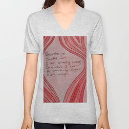 Breathe In. Breathe Out. I Am Already Enough. Pink Wood Grain Unisex V-Neck