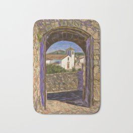 Marvao through castle door Bath Mat