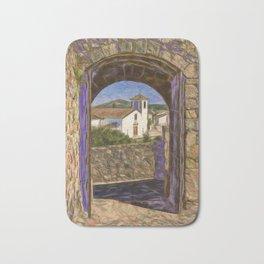 Marvao through castle door Bath Mat