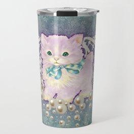 Kitschy Pearl Kitten Travel Mug