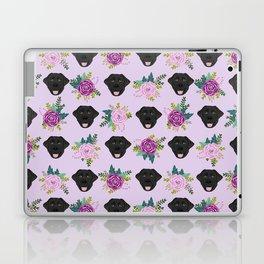 Black lab florals labrador retriever dog breed pet friendly pattern flowers bouquet Laptop & iPad Skin