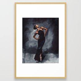 Misty Copeland Ballerina Dancer in Black Dress Vogue Framed Art Print