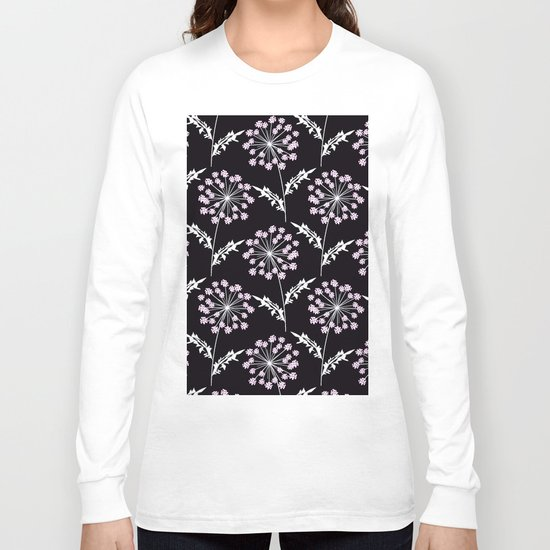 Fishnet pink flowers on a black background. Long Sleeve T-shirt