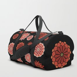 Chrysanthemum pattern on black Duffle Bag
