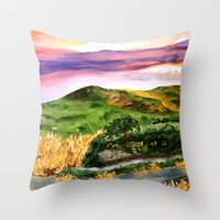 the lord of the rings Throw Pillows featuring Lord of the Rings Hobbiton by KS Art & Design