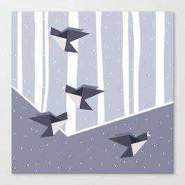 Elegant Origami Birds Abstract Winter Design Canvas Print