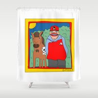 blackhawks Shower Curtains featuring Sooner by GOONS