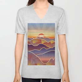 Golden sunset over rolling hills and mountains Unisex V-Neck