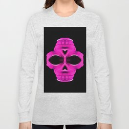 pink psychedelic skull portrait with black background Long Sleeve T-shirt