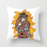 wasted rita Throw Pillows featuring Rita by Freja Friborg