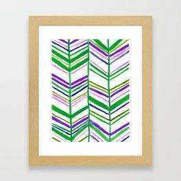 Handpainted Classic Chevron Pattern Green Pink Purple Blue Framed Art Print