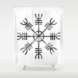 Black and White Helm of Awe | Aegishjalmur Icelandic Stave Shower Curtain
