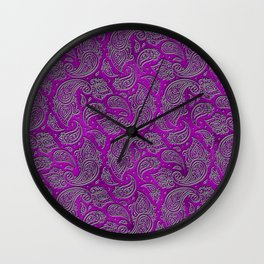 Silver embossed Paisley pattern on purple glass Wall Clock