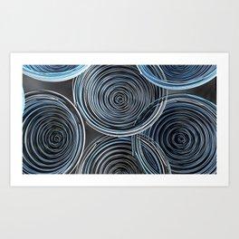 Black, white and blue spiraled coils Art Print