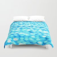 turquoise Duvet Covers featuring Turquoise Glitter Sparkles by WhimsyRomance&Fun