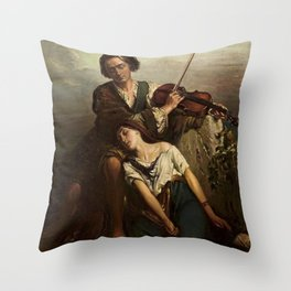 Louis Gallait - Fiddler and a gypsy (Solace) Throw Pillow