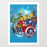 superheroes Art Prints featuring Superheroes by Adrien ADN Noterdaem