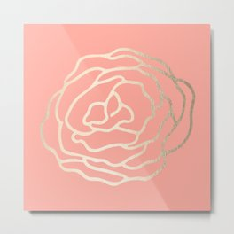 Flower in White Gold Sands on Salmon Pink Metal Print