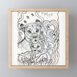 Lioness and Cub Love Framed Mini Art Print