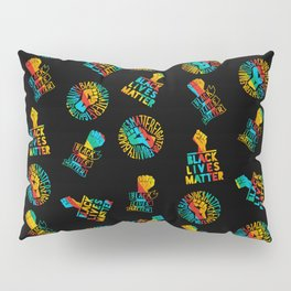 blm x gay pride rainbow flag - black lives matter seamless lgbt gay rainbow print pattern Pillow Sham